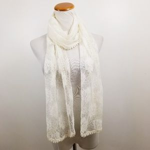 Ann Taylor Loft Scarf Ivory Floral Solid Lace New